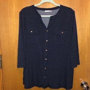Croft & Borrow navy colored polka dot top, 1X